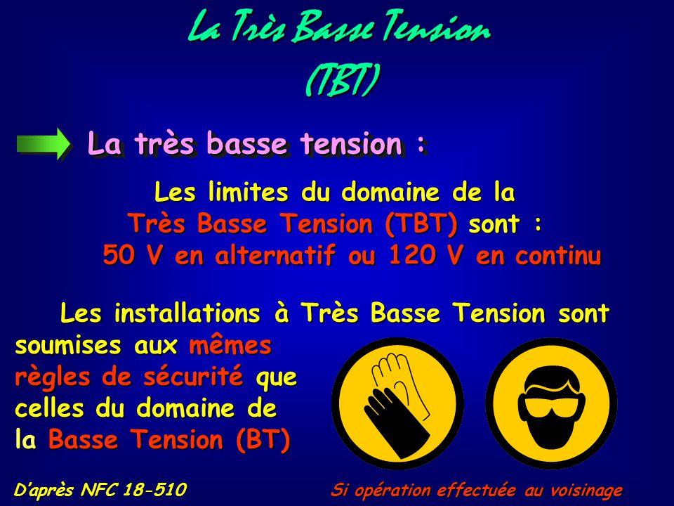La Très Basse Tension (TBT) (TBT) D'après NFC 18-510 Personnels Chefs de travaux