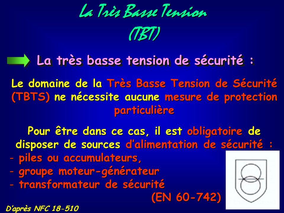 La Très Basse Tension (TBT) La très basse tension : D'après NFC 18-510 Les limites du domaine de la Très Basse Tension (TBT) sont : 50 V en alternatif