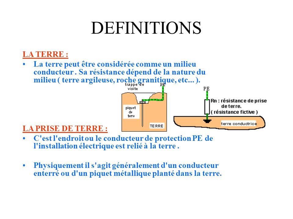 LES MASSES : •Ce sont les parties conductrices accessibles d'un matériel électrique susceptibles d'être mises sous tension en cas de défaut. DEFINITIO