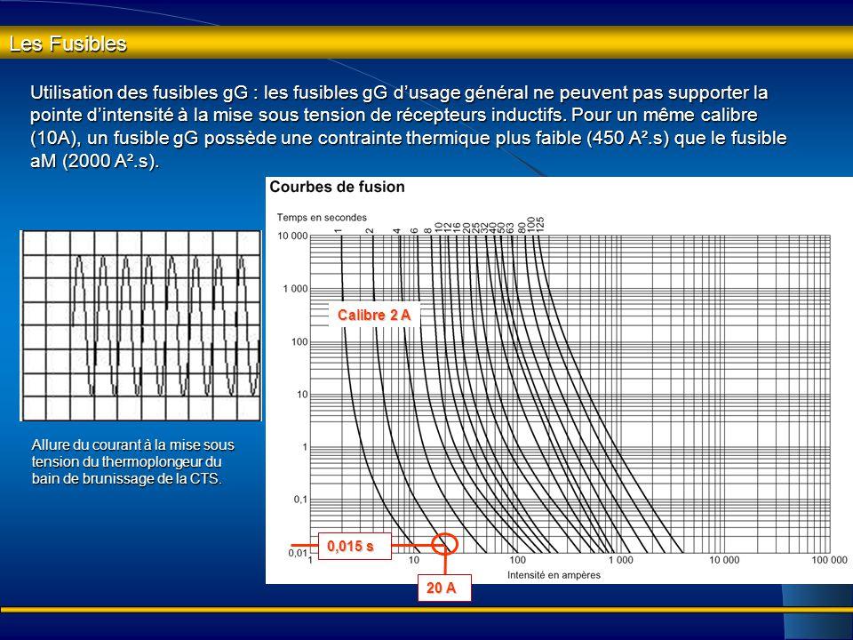 Les Fusibles Utilisation des fusibles aM : les fusibles aM ont la propriété de supporter pendant un temps assez court la pointe d'intensité absorbée p