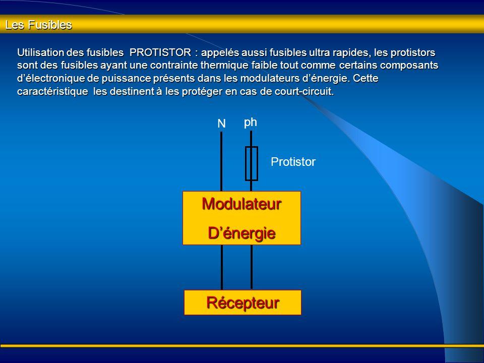 Les Fusibles Utilisation des fusibles gG : les fusibles gG d'usage général ne peuvent pas supporter la pointe d'intensité à la mise sous tension de ré