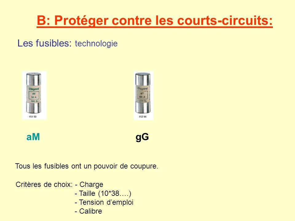 B: Protéger contre les courts-circuits: Les disjoncteurs: Courbes de déclenchement Courbe D: Déclenche de 10 à 14 In Temps en s I/In 0,01 1 0,1 1 10 2