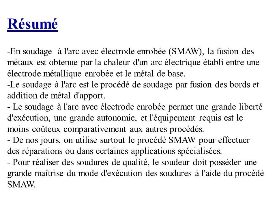 Exercice 1 1.Que signifie l'abréviation SMAW. Shielded Metal arc Welding 2.