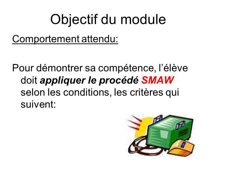 Objectif du module Comportement attendu: Pour démontrer sa compétence, l'élève doit appliquer le procédé SMAW selon les conditions, les critères qui suivent: