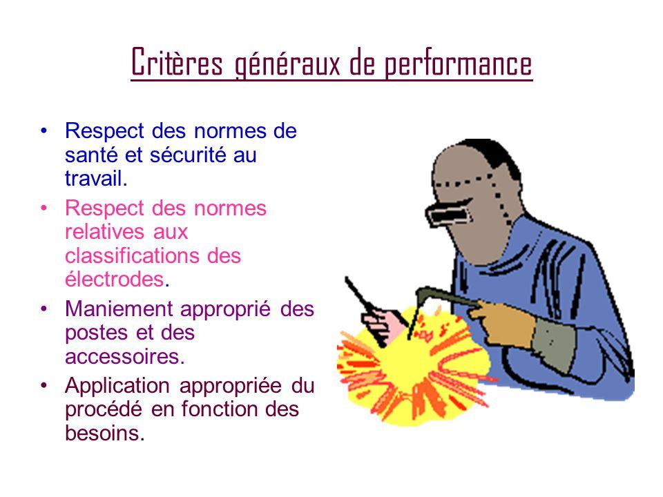 Critères généraux de performance •Respect des normes de santé et sécurité au travail.