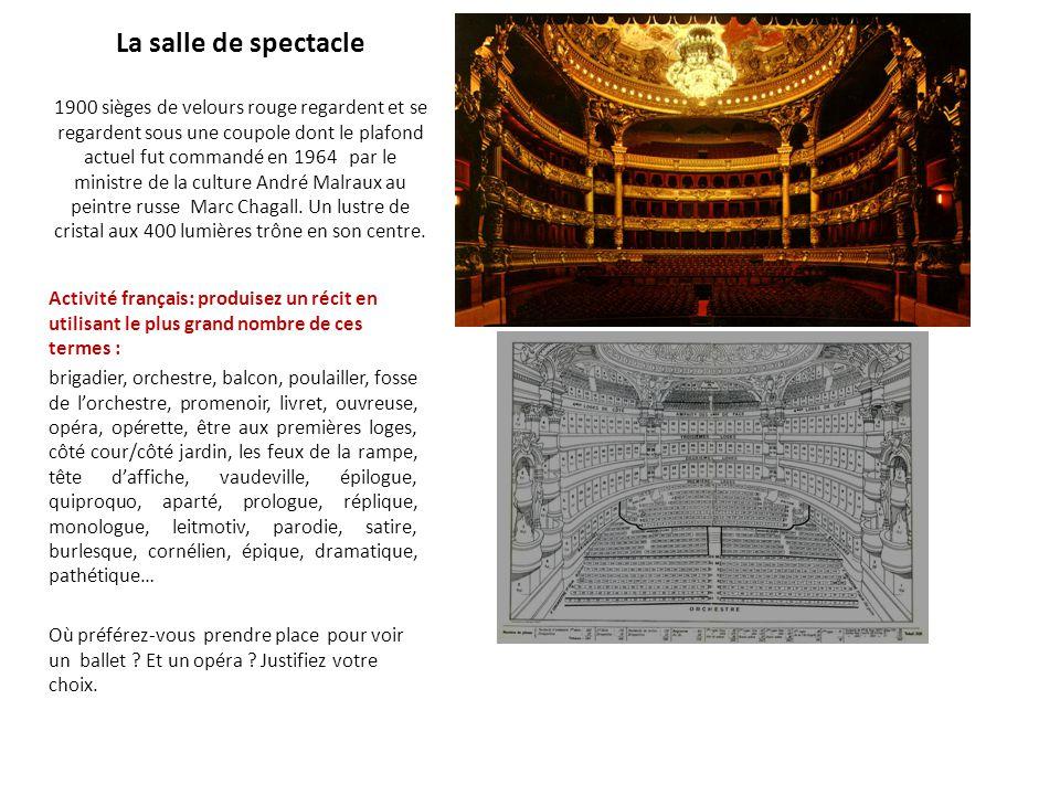 La salle de spectacle 1900 sièges de velours rouge regardent et se regardent sous une coupole dont le plafond actuel fut commandé en 1964 par le minis