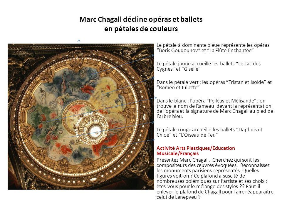 """Marc Chagall décline opéras et ballets en pétales de couleurs • Le pétale à dominante bleue représente les opéras """"Boris Goudounov"""" et """"La Flûte Encha"""