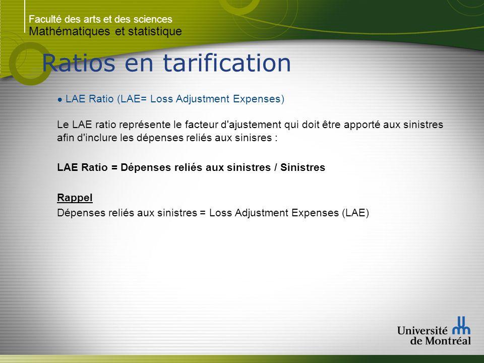 Faculté des arts et des sciences Mathématiques et statistique Ratios en tarification ● LAE Ratio (LAE= Loss Adjustment Expenses) Le LAE ratio représen