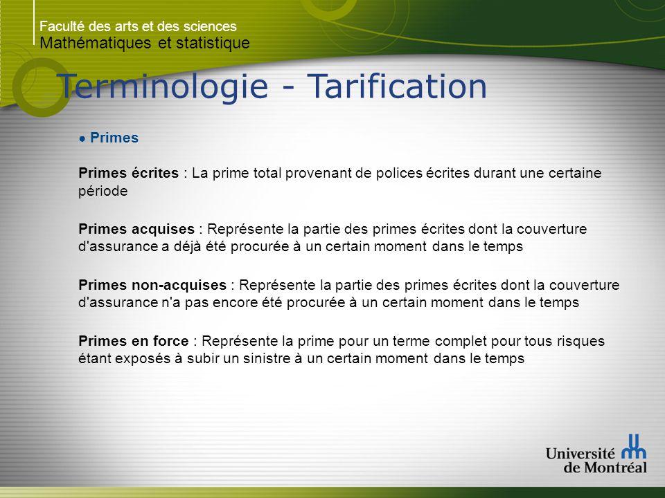 Faculté des arts et des sciences Mathématiques et statistique Terminologie - Tarification ● Primes Primes écrites : La prime total provenant de police