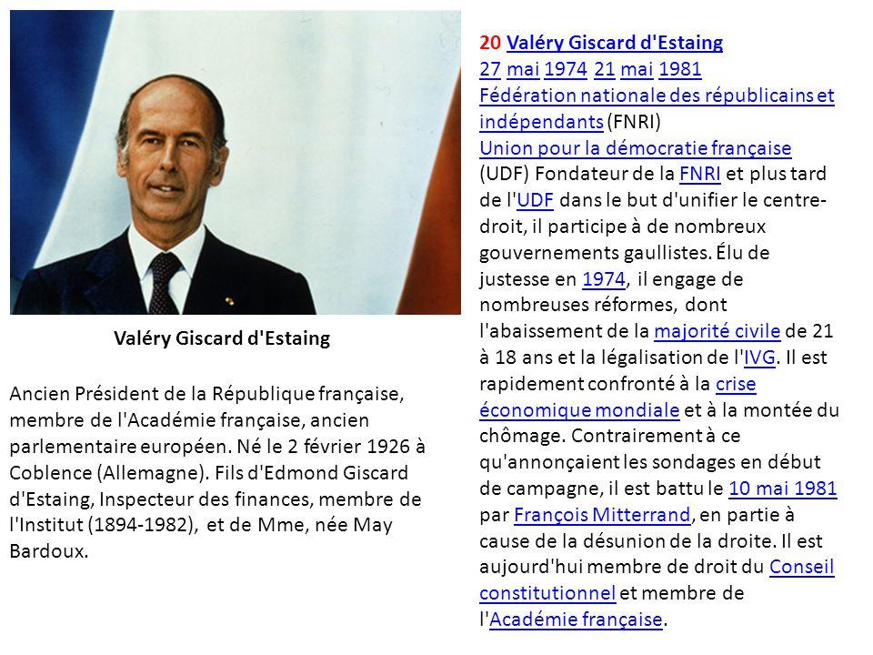 20 Valéry Giscard d'EstaingValéry Giscard d'Estaing 2727 mai 1974 21 mai 1981mai197421mai1981 Fédération nationale des républicains et indépendantsFéd