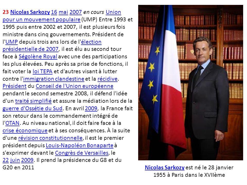 23 Nicolas Sarkozy 16 mai 2007 en cours Union pour un mouvement populaire (UMP) Entre 1993 et 1995 puis entre 2002 et 2007, il est plusieurs fois mini