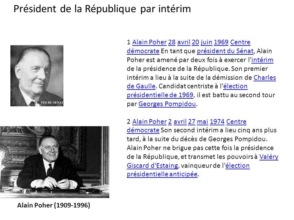 1 Alain Poher 28 avril 20 juin 1969 Centre démocrate En tant que président du Sénat, Alain Poher est amené par deux fois à exercer l'intérim de la pré