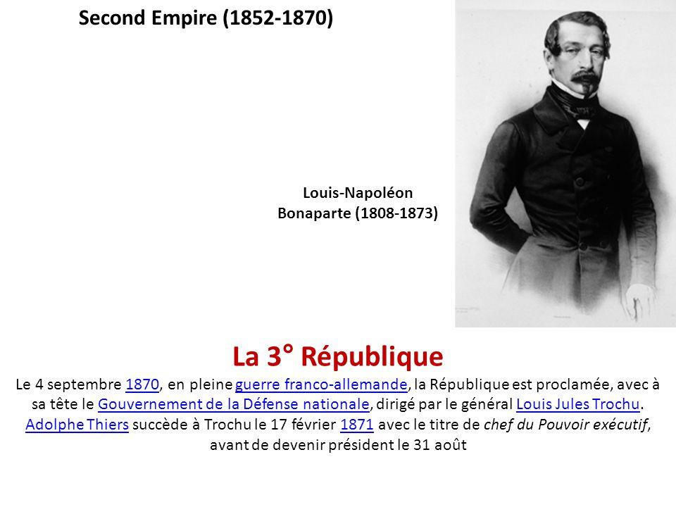 La 3° République Le 4 septembre 1870, en pleine guerre franco-allemande, la République est proclamée, avec à sa tête le Gouvernement de la Défense nat