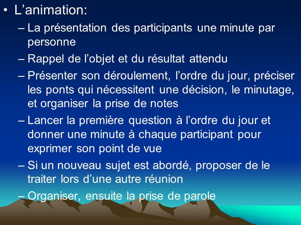 •L'animation: –La présentation des participants une minute par personne –Rappel de l'objet et du résultat attendu –Présenter son déroulement, l'ordre