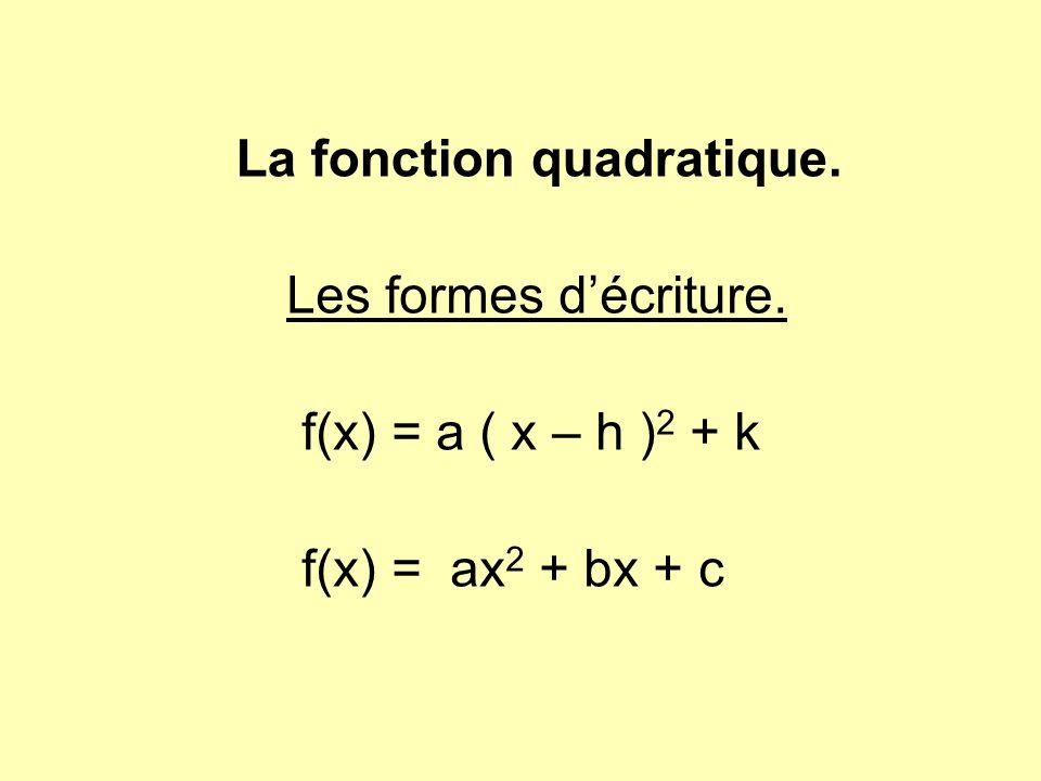 La fonction quadratique. Les formes d'écriture. f(x) = a ( x – h ) 2 + k f(x) = ax 2 + bx + c