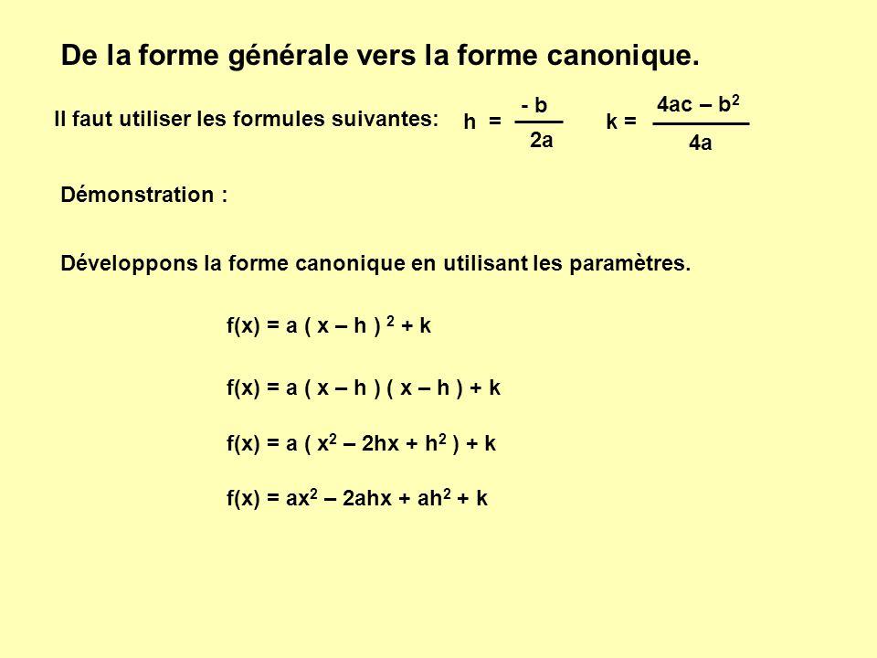 De la forme générale vers la forme canonique. Il faut utiliser les formules suivantes: h = - b 2a k = 4ac – b 2 4a Démonstration : Développons la form