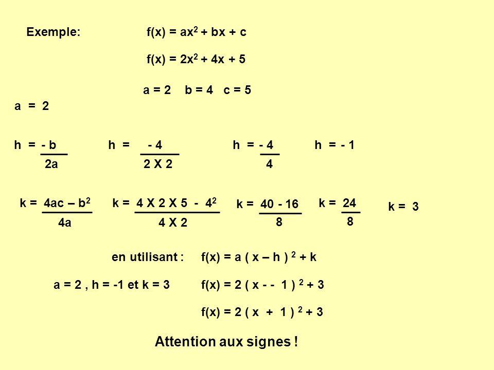 Exemple: f(x) = 2x 2 + 4x + 5 h = - b 2a k = 4ac – b 2 4a a = 2 b = 4 c = 5 h = - 4 2 X 2 h = - 4 4 h = - 1 k = 4 X 2 X 5 - 4 2 4 X 2 k = 40 - 16 8 k