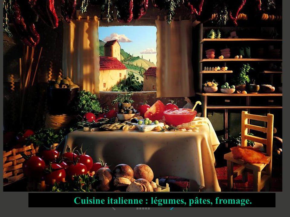 Cuisine italienne : légumes, pâtes, fromage.