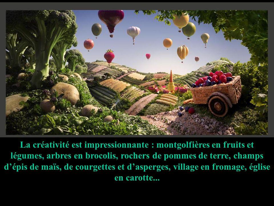 La créativité est impressionnante : montgolfières en fruits et légumes, arbres en brocolis, rochers de pommes de terre, champs d'épis de maïs, de courgettes et d'asperges, village en fromage, église en carotte...