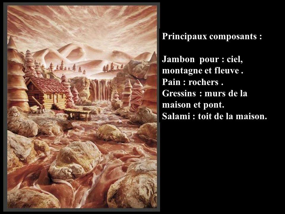 Principaux composants : Jambon pour : ciel, montagne et fleuve.
