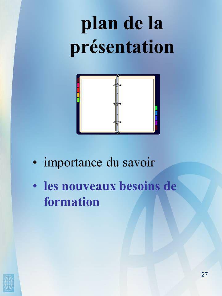 27 plan de la présentation • •importance du savoir • •les nouveaux besoins de formation