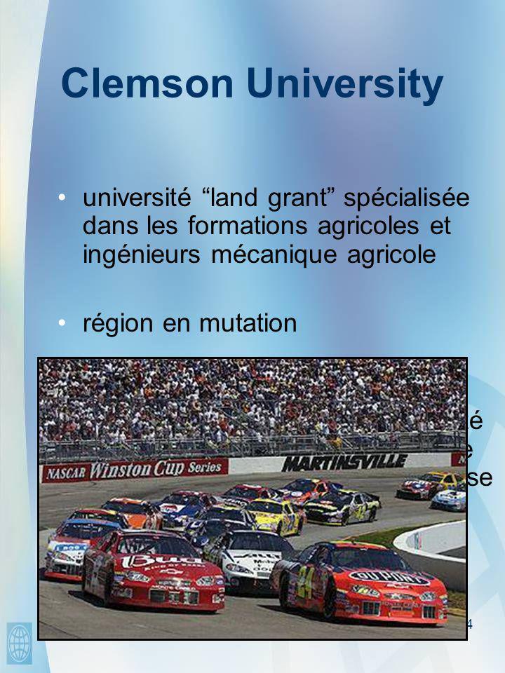54 Clemson University •université land grant spécialisée dans les formations agricoles et ingénieurs mécanique agricole •région en mutation •alliance stratégique avec BMW pour devenir la première université spécialisée dans la recherche liée à l'industrie automobile et la course automobile •ambition d'arriver au 20ème rang
