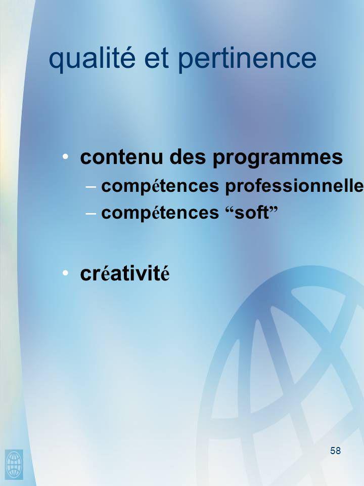58 qualité et pertinence •contenu des programmes –comp é tences professionnelles –comp é tences soft •cr é ativit é