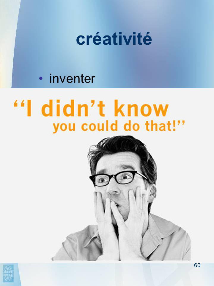 60 créativité •inventer •expérimenter •penser en-dehors des schémas traditionnels •prendre des risques •enfreindre les règles •commettre des erreurs •en y prenant plaisir…