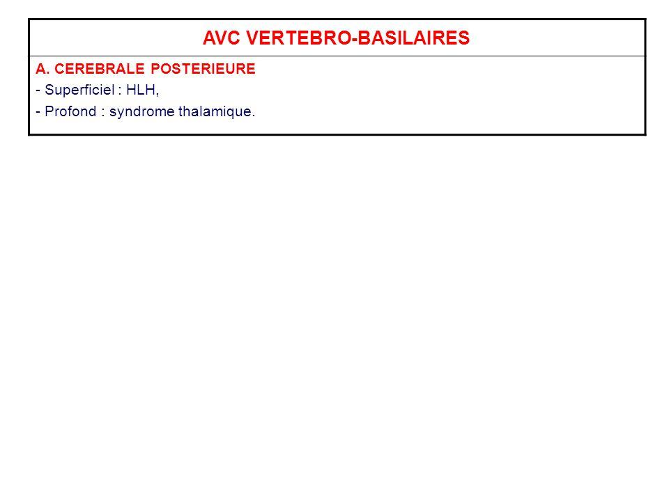 AVC VERTEBRO-BASILAIRES A. CEREBRALE POSTERIEURE - Superficiel : HLH, - Profond : syndrome thalamique.