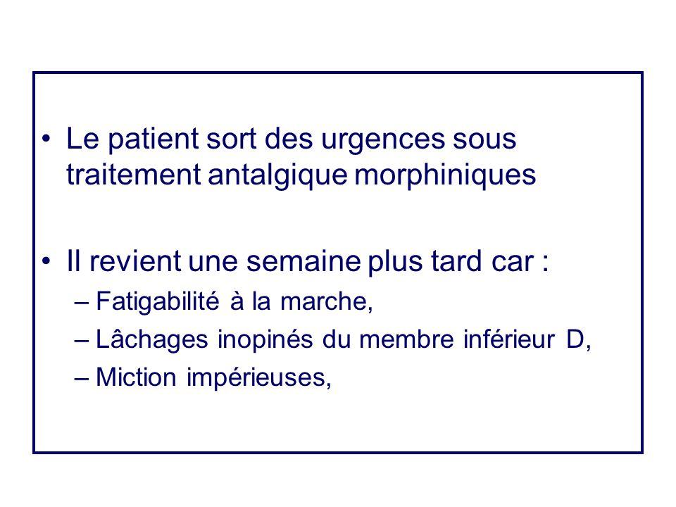 •Le patient sort des urgences sous traitement antalgique morphiniques •Il revient une semaine plus tard car : –Fatigabilité à la marche, –Lâchages ino