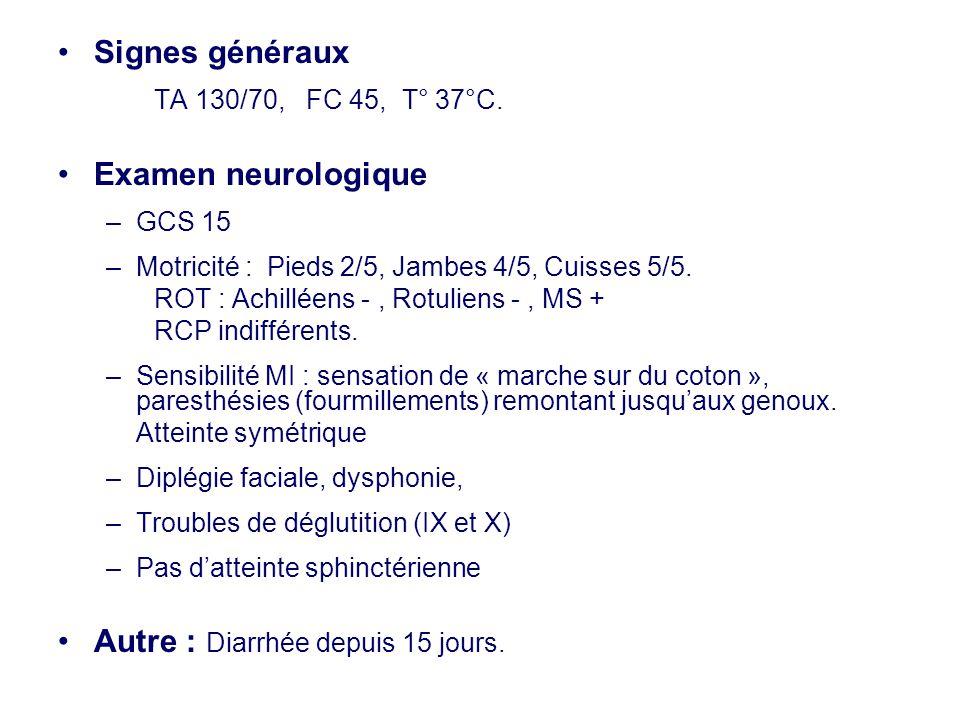 •Signes généraux TA 130/70, FC 45, T° 37°C. •Examen neurologique –GCS 15 –Motricité : Pieds 2/5, Jambes 4/5, Cuisses 5/5. ROT : Achilléens -, Rotulien