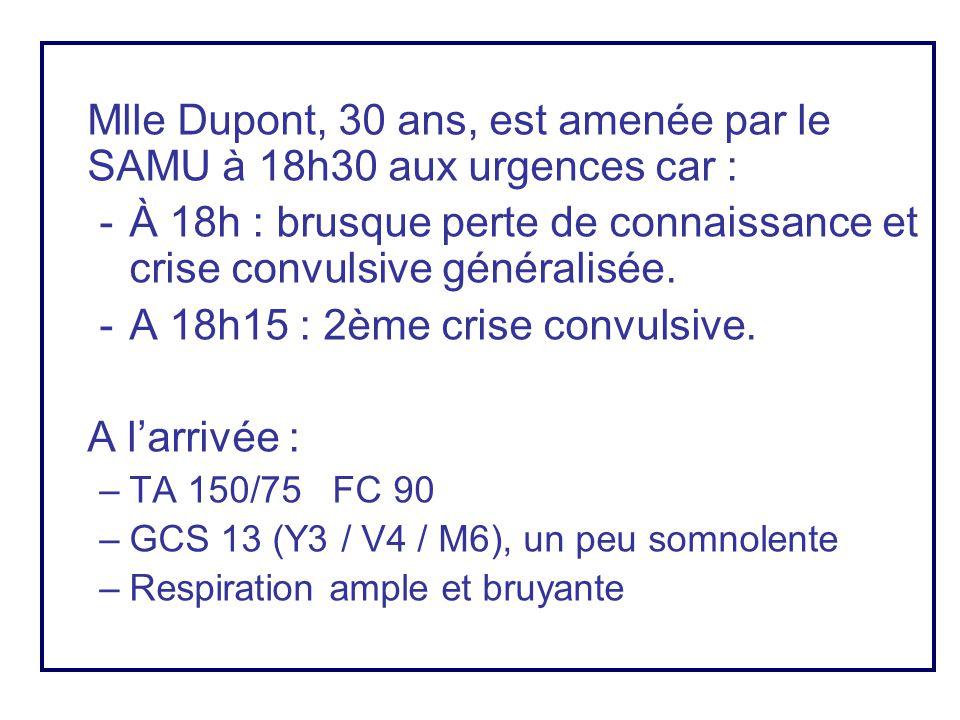 Mlle Dupont, 30 ans, est amenée par le SAMU à 18h30 aux urgences car : -À 18h : brusque perte de connaissance et crise convulsive généralisée. -A 18h1
