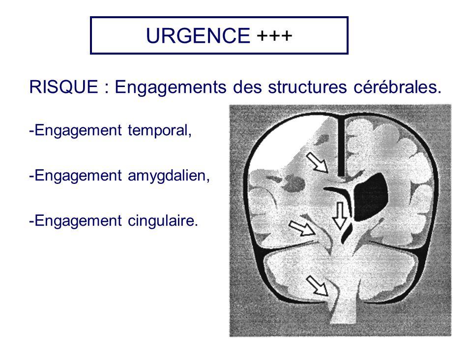 URGENCE +++ RISQUE : Engagements des structures cérébrales. -Engagement temporal, -Engagement amygdalien, -Engagement cingulaire.