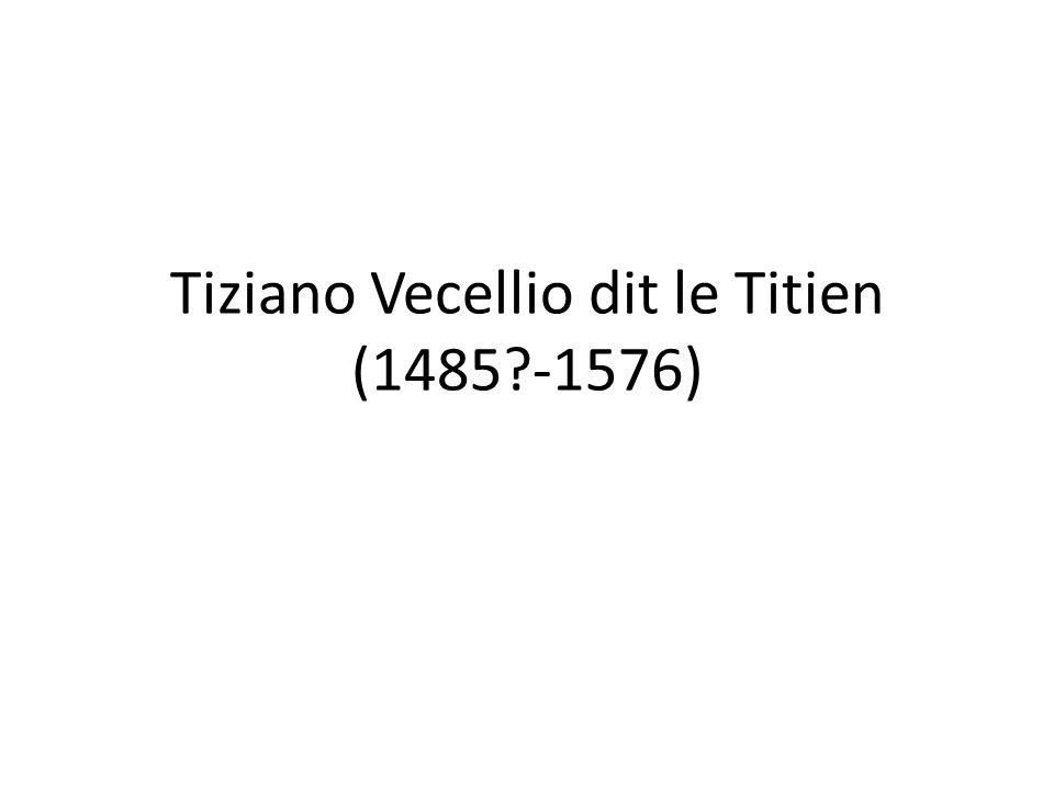 Titien (1485?-1576) • Giorgione mort jeune, c'est à Titien, qui lui, vécu vieux, que revint de porter l héritage de leur maître Bellini à son apogée; • Ni érudit universel comme Léonard, ni du caractère de Michel-Ange, ni sociable comme Raphaël, Titien fut avant tout un peintre, dont la maîtrise de la couleur reste un exemple… • Les premières œuvres sont de la manière de Giorgione, dont il termine les toiles restées inachevées après sa mort…