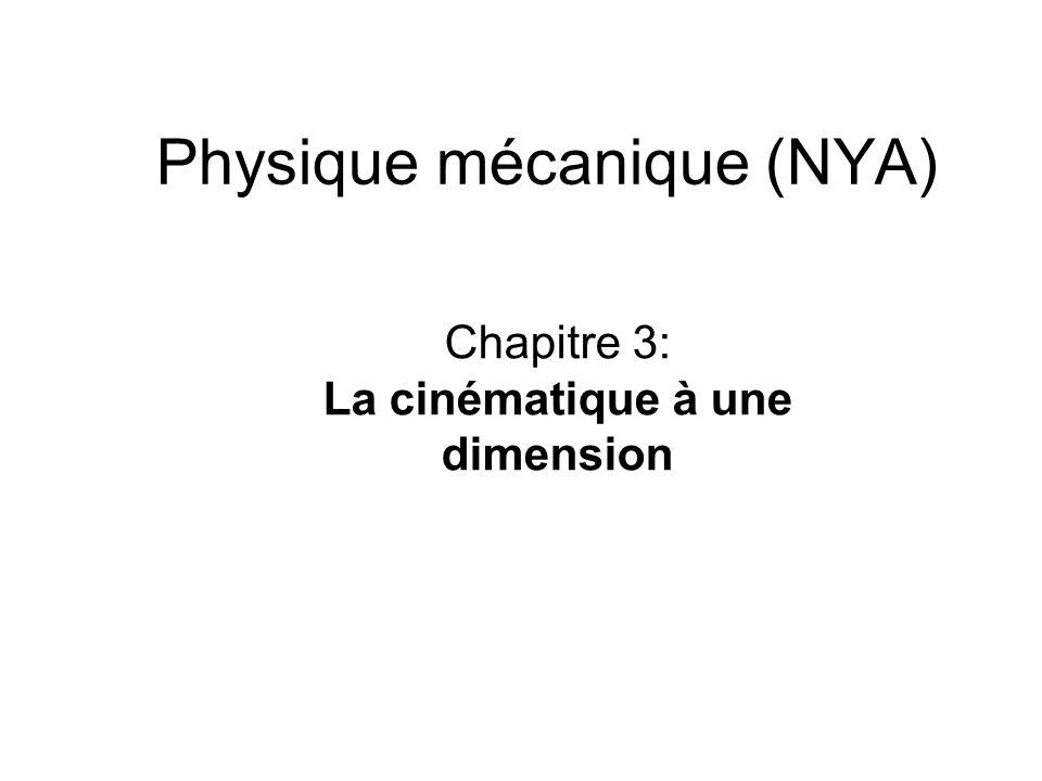 Physique mécanique (NYA) Chapitre 3: La cinématique à une dimension