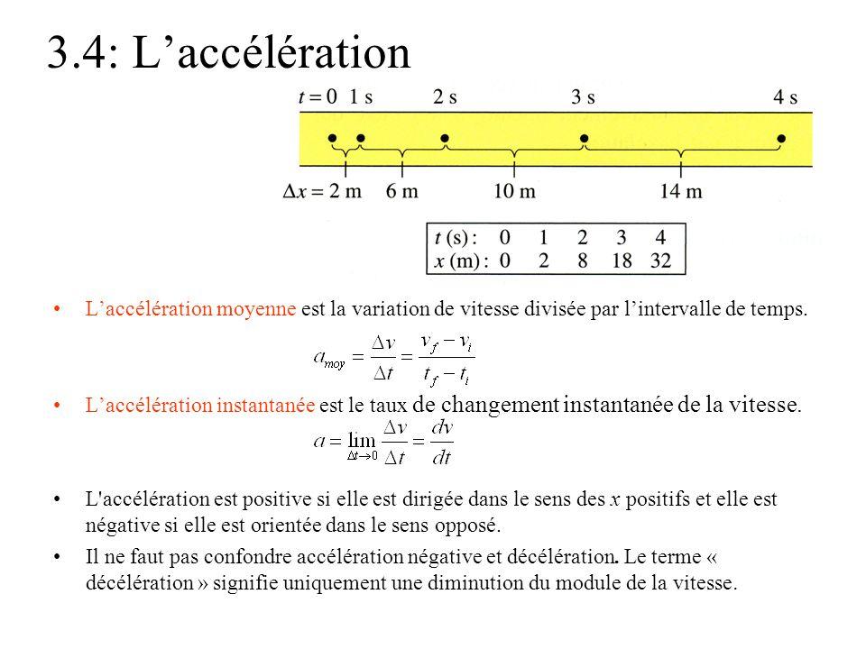 3.4: L'accélération •L'accélération moyenne est la variation de vitesse divisée par l'intervalle de temps. •L'accélération instantanée est le taux de