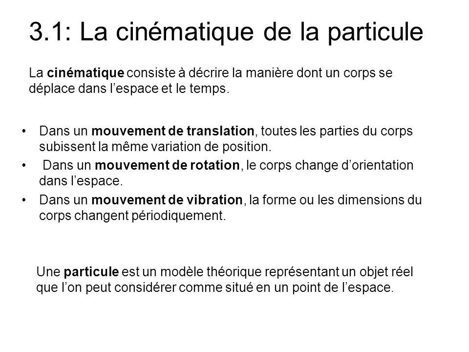 3.1: La cinématique de la particule La cinématique consiste à décrire la manière dont un corps se déplace dans l'espace et le temps. •Dans un mouvemen