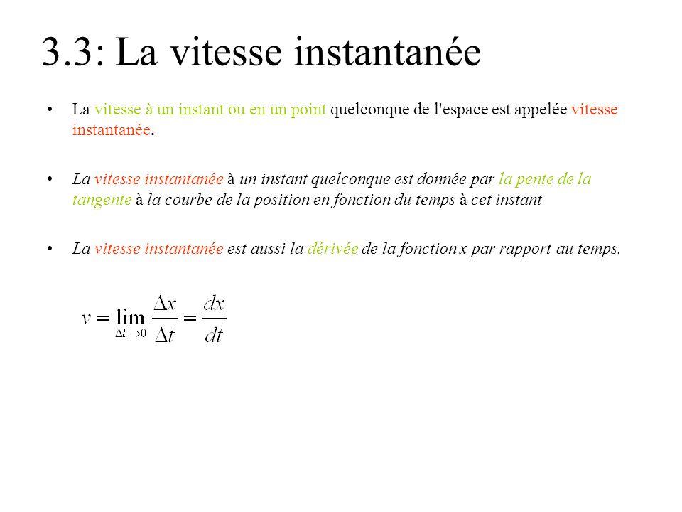 3.3: La vitesse instantanée •La vitesse à un instant ou en un point quelconque de l'espace est appelée vitesse instantanée. •La vitesse instantanée à