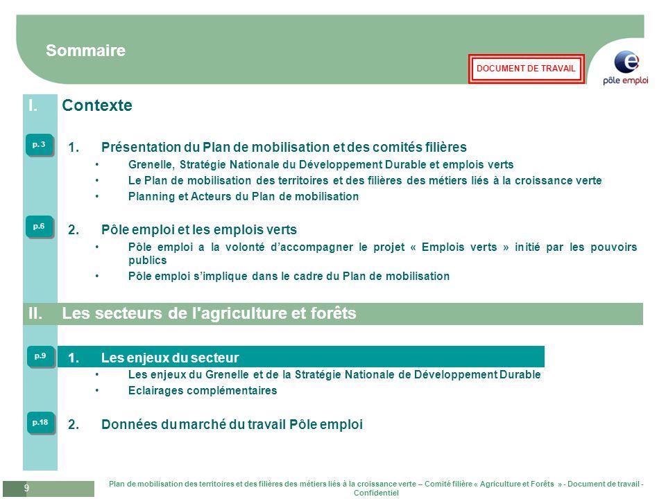 Plan de mobilisation des territoires et des filières des métiers liés à la croissance verte – Comité filière « Agriculture et Forêts » - Document de travail - Confidentiel 10 DOCUMENT DE TRAVAIL Les enjeux du Grenelle et de la Stratégie Nationale du Développement Durable L'impact du Grenelle de l'environnement sur l'agriculture et les forêts •Préservation et réhabilitation des sols agricoles •6% de la surface agricole utile en agriculture biologique en 2012 et 20 % en 2020 •20% de produits bio dans la restauration collective d'ici 2012 •Incitation fiscale à la conversion des exploitations à partir de 2009 •Certification environnementale des exploitations à « haute valeur environnementale » avec 50% des exploitations s'inscrivant dans la démarche d'ici 2012 et l'ensemble des exploitations des lycées agricoles d'ici 2012 •Maitrise énergétique des exploitations avec incitation fiscale pour la réalisation d'un diagnostic énergétique •Réorientation de la recherche et de la formation des agriculteurs vers des modes d'agriculture durables •Revoir les priorités assignées à la recherche •Former en 5 ans 20% des agriculteurs aux techniques intégrant l'environnement (en commençant par l'agronomie et les sols) Développement et encouragement de l'agriculture biologique Filière apicole •Déclaration obligatoire des ruches à partir du 1er janvier 2010 •Plan d'urgence pour la filière apicole après évaluation de l'impact sur les abeilles de l'ensemble des substances chimiques •Retrait du marché des produits phytopharmaceutiques contenant les 40 substances les plus préoccupantes en fonction de leur substituabilité, de leur dangerosité et réduction forte des pesticides à moyen terme •Baisse de 50 % d'ici à 2012 des produits contenant des substances préoccupantes non substituables •Objectif général affiché de réduction de moitié des biocides et des phytopharmaceutiques en 10 ans •Interdiction d'épandage aérien des phytopharmaceutiques Promotion des variétés végétales manifestant une fai