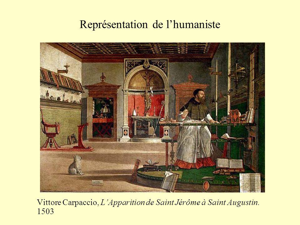 Représentation de l'humaniste Vittore Carpaccio, L'Apparition de Saint Jérôme à Saint Augustin. 1503