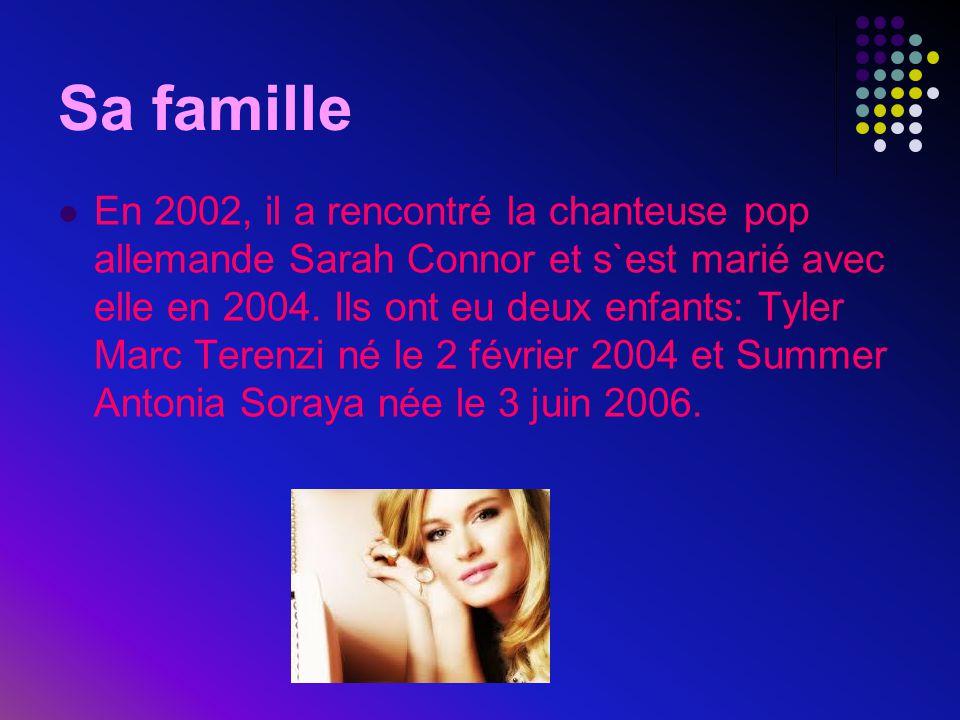  En 2002, il a rencontré la chanteuse pop allemande Sarah Connor et s`est marié avec elle en 2004. Ils ont eu deux enfants: Tyler Marc Terenzi né le
