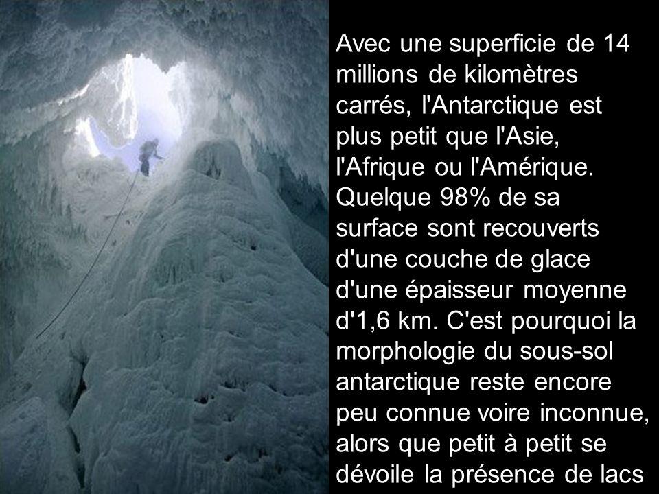 Avec une superficie de 14 millions de kilomètres carrés, l Antarctique est plus petit que l Asie, l Afrique ou l Amérique.