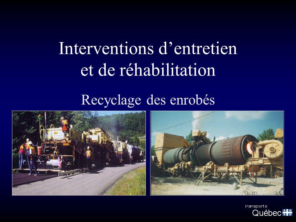 Interventions d'entretien et de réhabilitation Recyclage des enrobés