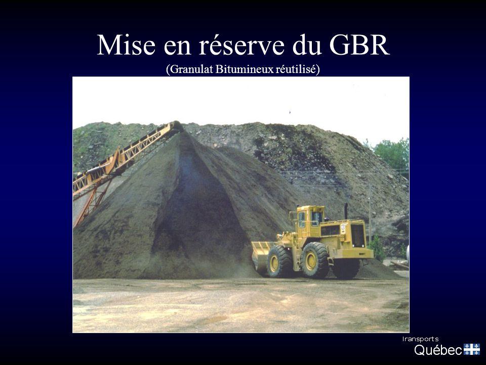 Mise en réserve du GBR (Granulat Bitumineux réutilisé)