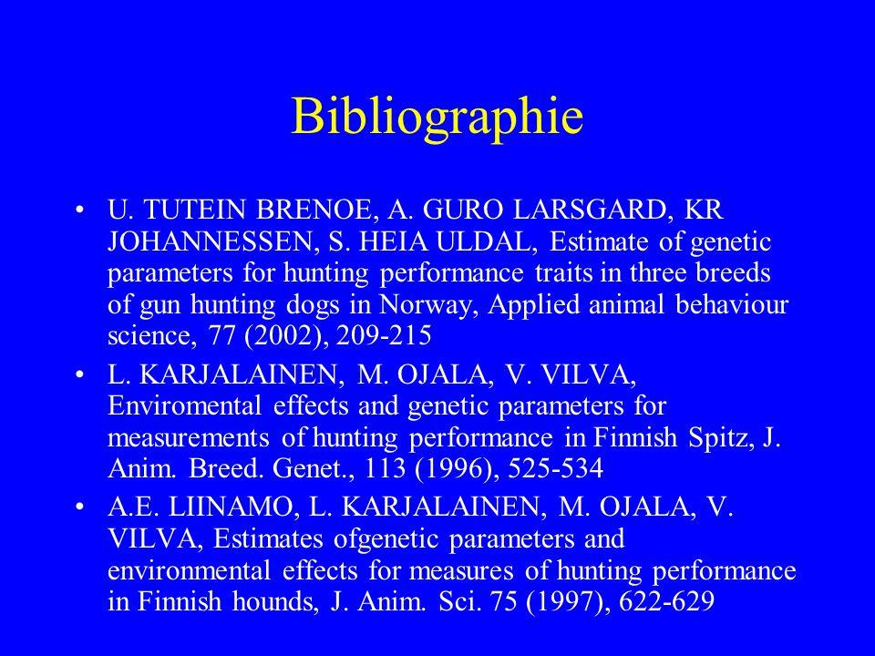 Bibliographie •U. TUTEIN BRENOE, A. GURO LARSGARD, KR JOHANNESSEN, S. HEIA ULDAL, Estimate of genetic parameters for hunting performance traits in thr