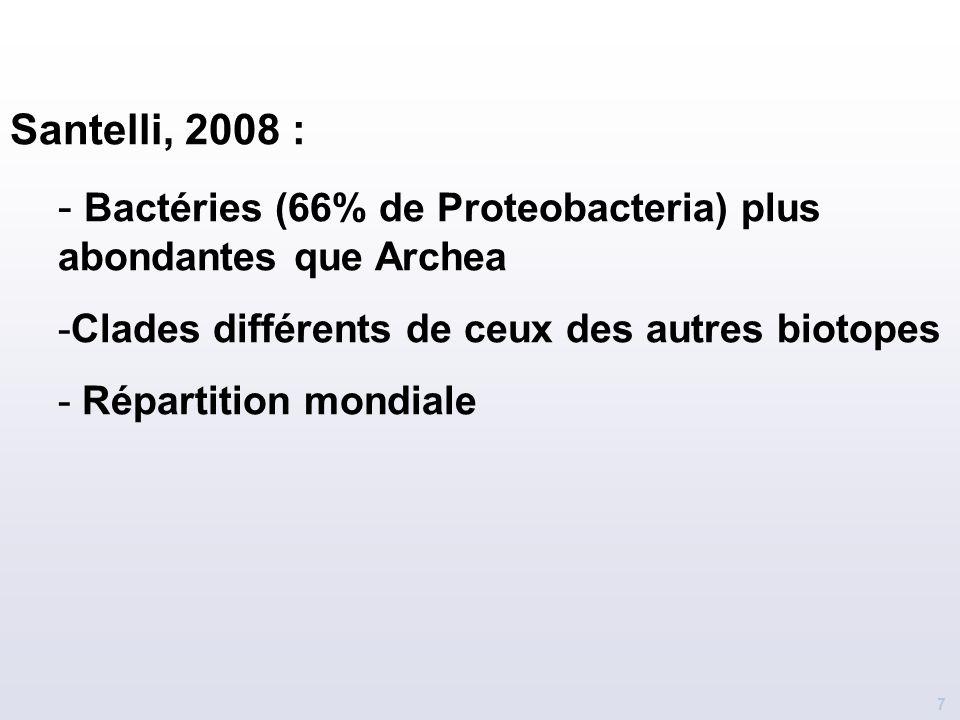 7 Santelli, 2008 : - Bactéries (66% de Proteobacteria) plus abondantes que Archea -Clades différents de ceux des autres biotopes - Répartition mondial