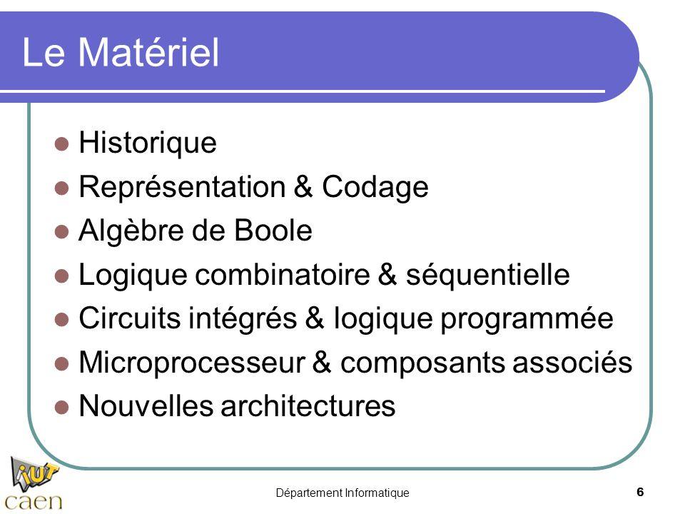 Département Informatique6 Le Matériel  Historique  Représentation & Codage  Algèbre de Boole  Logique combinatoire & séquentielle  Circuits intég