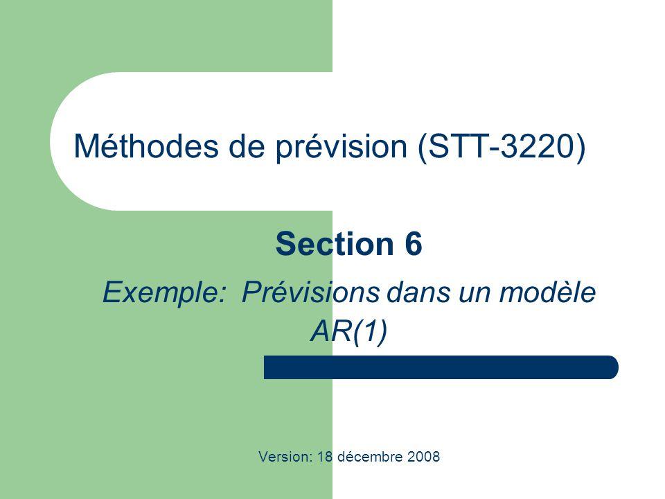 STT-3220; Méthodes de prévision 2 Prévisions dans un modèle AR(1)  Avec n données, on cherche à prévoir Z n+l.