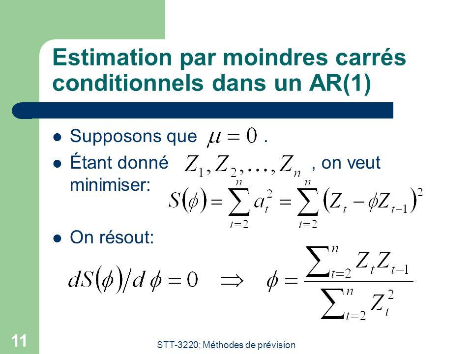 STT-3220; Méthodes de prévision 11 Estimation par moindres carrés conditionnels dans un AR(1)  Supposons que.