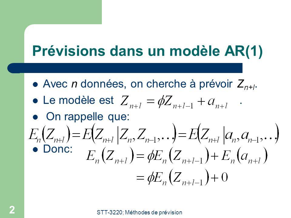 STT-3220; Méthodes de prévision 3 Prévisions dans un modèle AR(1); Rappel:  On rappelle que:  Ainsi:  On obtient les prévisions: – l = 1: – l = 2: – En général: – Remarque: Si alors